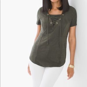 NWOT CHICOS olive Faux Suede lace-up top tee XL/3